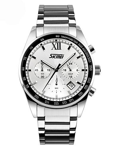 SKMEI Homens Quartzo Único Criativo relógio Relógio de Pulso Relógio Esportivo Chinês Calendário Impermeável Dois Fusos Horários Metal