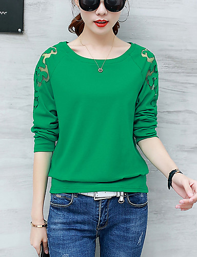 Damen Solide Street Schick Lässig/Alltäglich T-shirt,Rundhalsausschnitt Herbst Winter Langarm Baumwolle Polyester Mittel