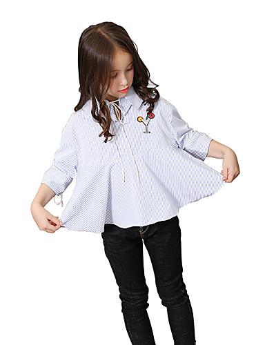Mädchen Hemd Streifen Polyester Sommer Herbst Kurz