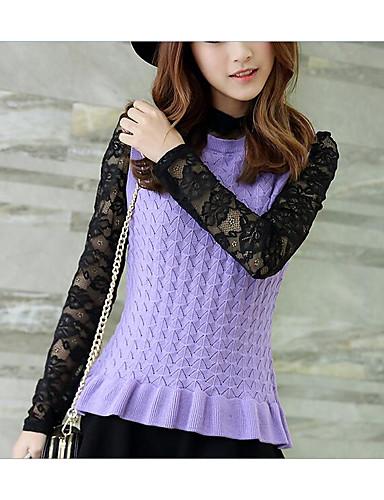 Damen Standard Pullover-Lässig/Alltäglich Solide Druck Rundhalsausschnitt Langarm Seide Kunst-Pelz Baumwolle Winter Herbst Mittel