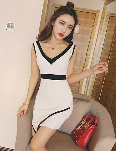 Damen Bodycon Kleid-Lässig/Alltäglich Patchwork V-Ausschnitt Asymmetrisch Ärmellos Baumwolle Sommer Hohe Hüfthöhe Mikro-elastisch Dünn