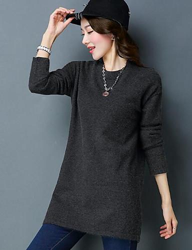 Damen Lang Pullover-Lässig/Alltäglich Solide Rundhalsausschnitt Langarm Wolle Andere Herbst Winter Mittel Mikro-elastisch