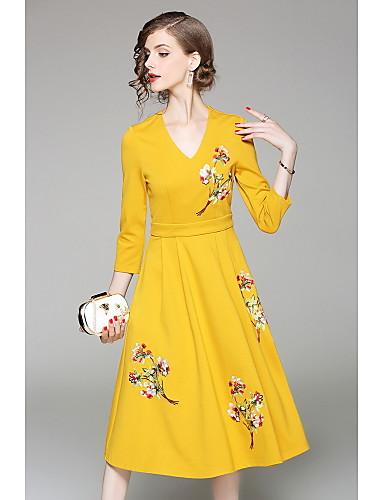 Damen Hülle Kleid-Lässig/Alltäglich Solide Stickerei V-Ausschnitt Midi 3/4 Ärmel Polyester Herbst Mittlere Hüfthöhe Mikro-elastisch Mittel