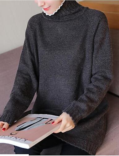 Damen Lang Pullover-Ausgehen Lässig/Alltäglich Niedlich Solide Rollkragen Langarm Baumwolle Herbst Winter Mittel Mikro-elastisch