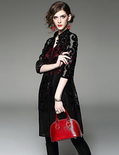 Damen Stickerei Street Schick Ausgehen Lässig/Alltäglich Bluse Rock Anzüge,Gurt Sommer Herbst ¾ Ärmel Ausgehöhlt Mikro-elastisch