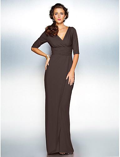 preiswerte Abendkleider-Eng anliegend V-Ausschnitt Boden-Länge Jersey Formeller Abend Kleid mit Überkreuzte Rüschen / Gerafft durch TS Couture®