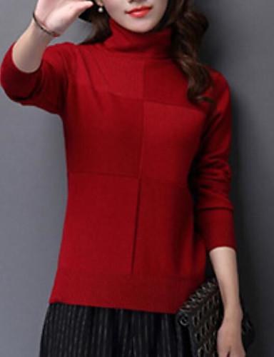 Damen Standard Pullover-Lässig/Alltäglich Solide Rollkragen Langarm Baumwolle Herbst Winter Mittel Mikro-elastisch