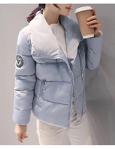 Damen Baumwolle Ausgehen Einfach / Aktiv Daunenjacke Solide / Gestreift / Druck