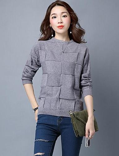 Damen Standard Pullover-Lässig/Alltäglich Solide Rundhalsausschnitt Langarm Elasthan Andere Herbst Winter Mittel Mikro-elastisch