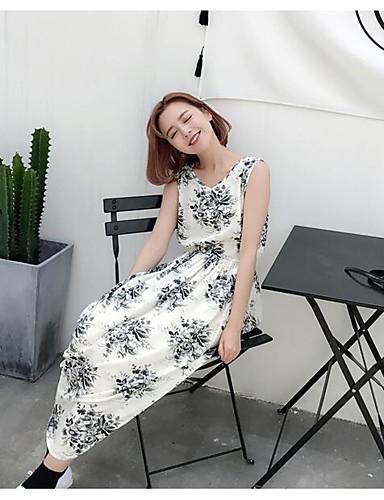 Damen Swing Kleid-Lässig/Alltäglich Blumen Rundhalsausschnitt Maxi Ärmellos Baumwolle Sommer Hohe Hüfthöhe Unelastisch Dünn