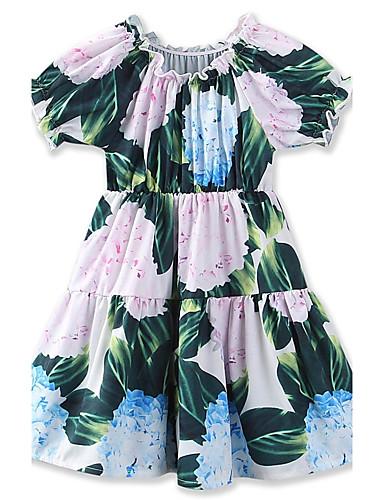 Mädchen Kleid Blumen Druck Geometrisch Baumwolle Sommer Ärmellos