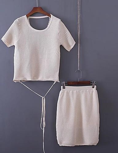 Damen Solide Gitter Einfach Niedlich Aktiv Ausgehen Strand T-shirt Rock Anzüge,Rundhalsausschnitt Sommer Kurze Ärmel Rückenfrei Ausgehöhlt