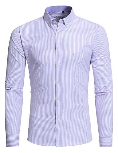 Men's Work Slim Shirt - Striped Basic Classic Collar