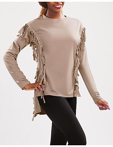 Damen Pullover Lässig/Alltäglich Einfach Solide Quaste Rundhalsausschnitt Unelastisch Baumwolle Ärmellos Herbst
