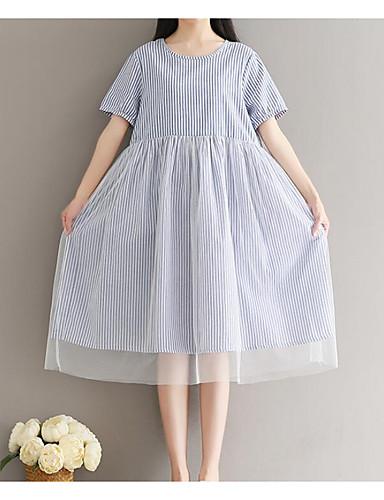 Damen Lose Kleid-Lässig/Alltäglich Gestreift Rundhalsausschnitt Knielang Kurzarm Baumwolle Sommer Hohe Hüfthöhe Mikro-elastisch Mittel