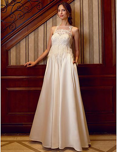 A-vonalú Illúziós nyakpánt Földig érő Szatén Egyéni esküvői ruhák val vel Gyöngydíszítés / Rátétek / Toll / szőrme által LAN TING BRIDE®