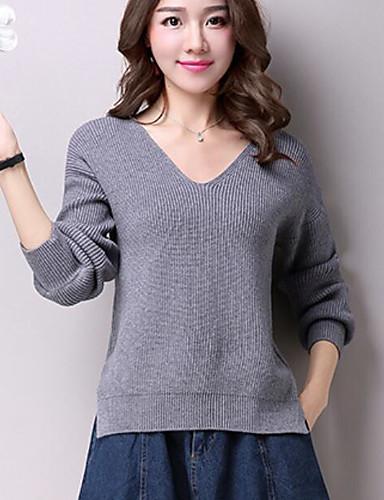 Damen Langarm Pullover-Solide V-Ausschnitt