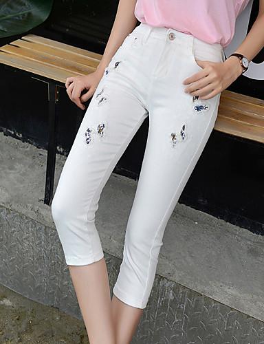 بنطلون جينزات مطاط صغير نحيل سكيني وسط بسيط سادة نساء