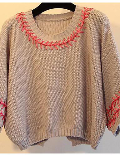 Damen Kurz Pullover-Lässig/Alltäglich Druck Rundhalsausschnitt 3/4 Ärmel Baumwolle Leinen Herbst Mittel Mikro-elastisch