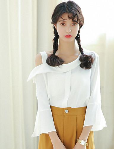 Damen Solide - Niedlich Street Schick Baumwolle Hemd