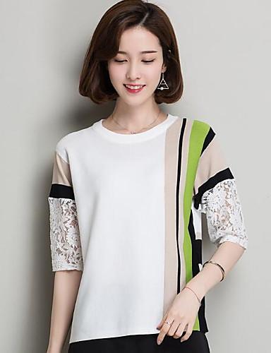 Damen Standard Pullover-Lässig/Alltäglich Solide Gestreift Rundhalsausschnitt Halbe Ärmel Nylon Andere Sommer Mittel Unelastisch