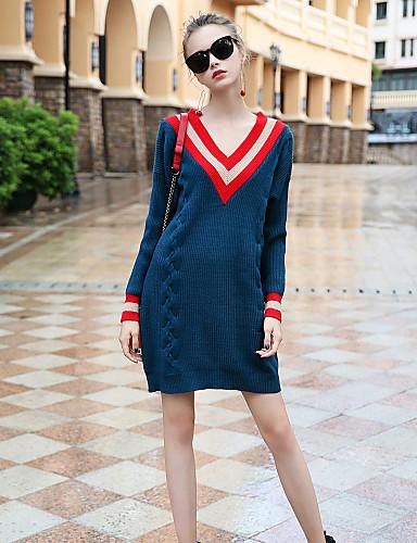 Damen Bodycon Kleid-Ausgehen Lässig/Alltäglich Einfarbig V-Ausschnitt Knielang Langarm Polyester Nylon Andere Herbst Winter Mittlere