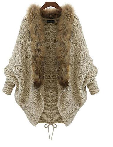 Női Casual / hétköznapi Fur Trim Egyszínű Hosszú ujj Bő Hosszú Cloak / Capes, Állógallér Ősz / Tél Pamut Khakizöld Egy méret