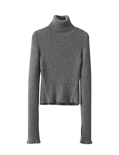 Damen Standard Pullover-Lässig/Alltäglich Ausgehen Einfach Niedlich Solide Rollkragen Langarm Andere Winter Herbst Dick Mittel Dehnbar