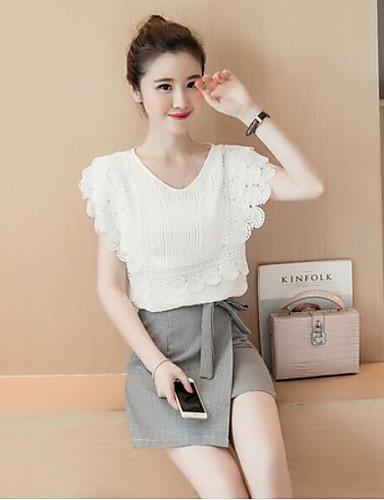 Damen Solide Einfach Ausgehen Lässig/Alltäglich Shirt Rock Anzüge,Rundhalsausschnitt Sommer Kurzarm Spitze