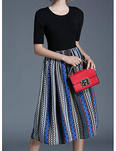 Damen Hülle Kleid-Ausgehen Gestreift Rundhalsausschnitt Midi Halbe Ärmel Polyester Sommer Mittlere Hüfthöhe Mikro-elastisch Mittel