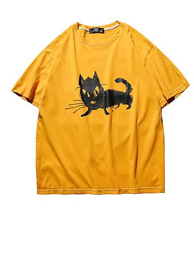Herren Solide Tierfell-Druck Einfach Ausgehen Lässig/Alltäglich T-shirt,Rundhalsausschnitt Kurzarm Baumwolle