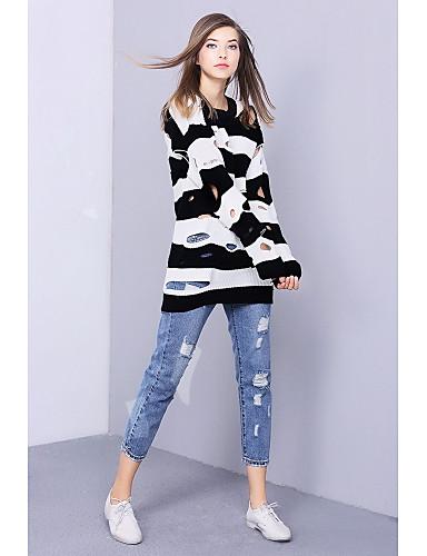 Damen Standard Pullover-Ausgehen Einfach Gestreift Rundhalsausschnitt Langarm Baumwolle Winter Mittel Mikro-elastisch