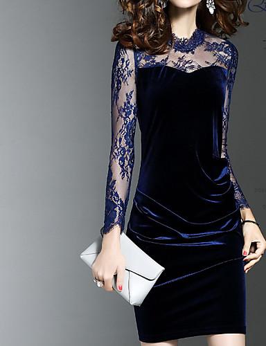 Damen Bodycon Kleid-Lässig/Alltäglich Einfach Blumen Rundhalsausschnitt Knielang Langarm Sommer Hohe Hüfthöhe Mikro-elastisch Dünn
