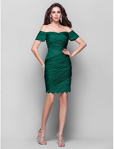 27eac1f44352 Ίσια Γραμμή Καρδιά Κοντό   Μίνι Σιφόν Ανοικτή Πλάτη Κοκτέιλ Πάρτι Φόρεμα με  Χάντρες   Δαντέλα με TS Couture®