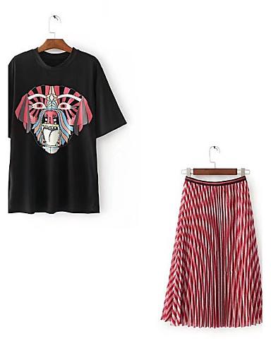 Damen Druck Einfach Niedlich Aktiv Ausgehen Strand T-shirt Rock Anzüge,Rundhalsausschnitt Sommer Kurze Ärmel Baumwolle Mikro-elastisch