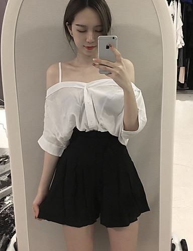 Damen Solide Street Schick Ausgehen T-Shirt-Ärmel Hose Anzüge,Rundhalsausschnitt Sommer Kurzarm Rückenfrei Unelastisch