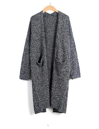 Damen Lang Mantel / Capes-Ausgehen Lässig/Alltäglich Einfach Solide V-Ausschnitt Langarm Wolle Herbst Dick Mikro-elastisch