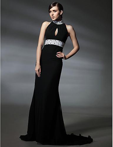 Τρομπέτα / Γοργόνα Ζιβάγκο Ουρά μέτριου μήκους Σιφόν Στυλ Διασήμων / Κλειδαρότρυπα Επίσημο Βραδινό Φόρεμα με Χάντρες / Κρυστάλλινη λεπτομέρεια / Που καλύπτει με TS Couture®