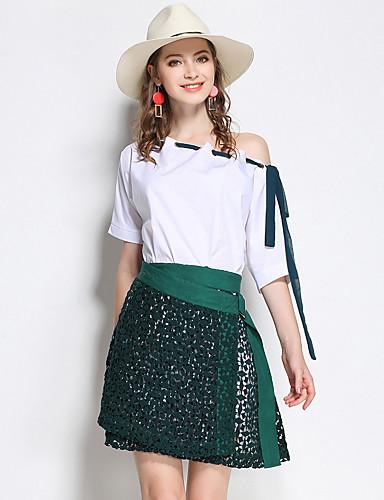 Damen Einfarbig Niedlich Ausgehen T-shirt Rock Anzüge,Ein-Schulter Sommer Kurze Ärmel Polyester Mikro-elastisch