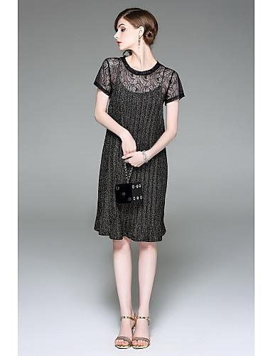 Damen Hülle Kleid-Ausgehen Niedlich Stickerei Rundhalsausschnitt Knielang Kurzarm Polyester Sommer Mittlere Hüfthöhe Mikro-elastisch