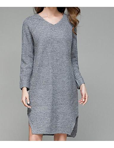 Damen Lang Pullover-Lässig/Alltäglich Einfach Solide V-Ausschnitt Langarm Acryl Polyester Herbst Mittel Mikro-elastisch