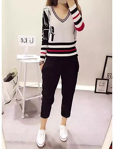 Damen Standard Pullover-Ausgehen Lässig/Alltäglich Einfach Niedlich Solide Gestreift Einfarbig V-Ausschnitt Langarm Baumwolle Andere