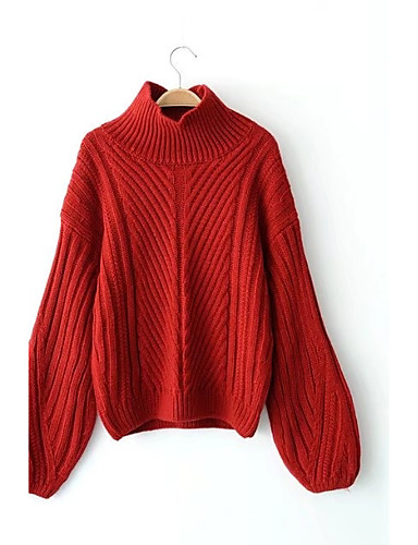 Damen Standard Pullover-Ausgehen Lässig/Alltäglich Einfach Niedlich Solide Hahnentrittmuster Ständer Langarm Wolle Baumwolle Polyester