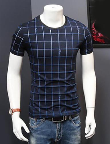 Herren Hahnentrittmuster Einfach Lässig/Alltäglich T-shirt,Rundhalsausschnitt Kurzarm Baumwolle