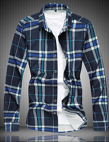 رجال قميص كاجوال/يومي قياسات كبيرة ذهاب للخارج بسيط سادة شيك ربيع خريف قبعة القميص كم طويل قطن أخرى