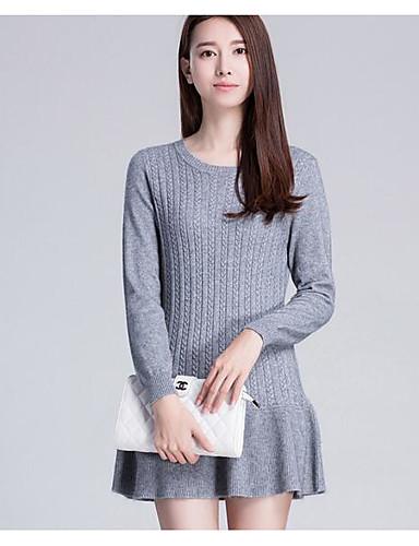 Damen Standard Set-Lässig/Alltäglich Solide Rundhalsausschnitt Langarm Wolle Baumwolle Frühling Herbst Mittel Mikro-elastisch
