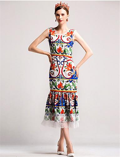 Damen Hülle Swing Kleid-Alltag Blumen Rundhalsausschnitt Midi Ärmellos Baumwolle Herbst Mittlere Hüfthöhe Mikro-elastisch Mittel