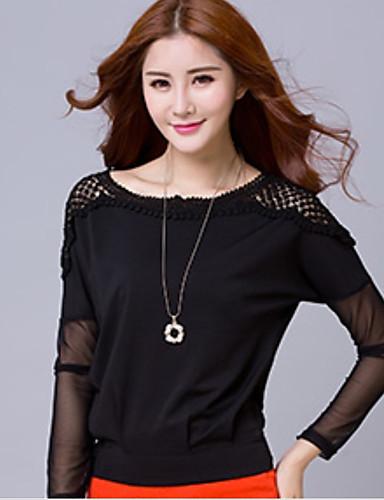 Damen Solide Anspruchsvoll Lässig/Alltäglich Hemd,Rundhalsausschnitt Langarm Kaschmir