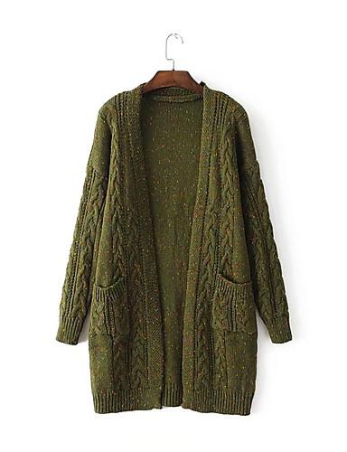 Damen Standard Strickjacke-Ausgehen Lässig/Alltäglich Einfach Solide V-Ausschnitt Langarm Baumwolle Polyester Frühling Herbst Dünn Mittel