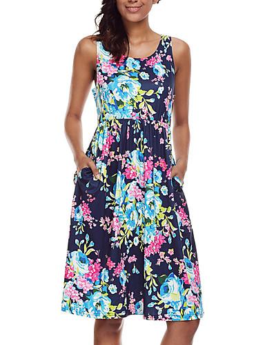 Damen Lose Kleid Blumen Rundhalsausschnitt Hohe Hüfthöhe